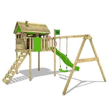 FATMOOSE Stelzenhaus FunFactory Fit XXL Spielturm Baumhaus Spielhaus mit Schaukel und apfelgrüner Rutsche - 2