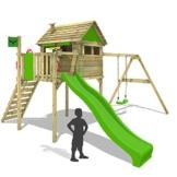 FATMOOSE Stelzenhaus FunFactory Fit XXL Spielturm Baumhaus Spielhaus mit Schaukel und apfelgrüner Rutsche - 1