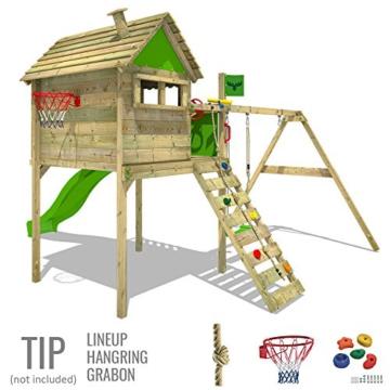 FATMOOSE Stelzenhaus FunFactory Fit XXL Spielturm Baumhaus Spielhaus mit Schaukel und apfelgrüner Rutsche - 3