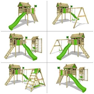 FATMOOSE Stelzenhaus FunFactory Fit XXL Spielturm Baumhaus Spielhaus mit Schaukel und apfelgrüner Rutsche - 4