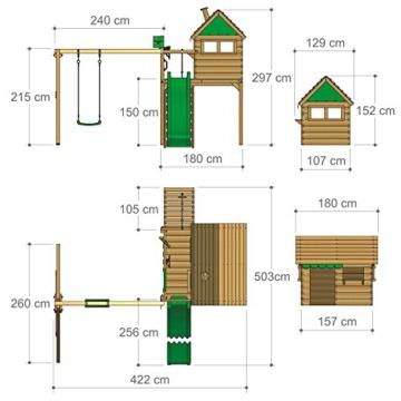 FATMOOSE Stelzenhaus FunFactory Fit XXL Spielturm Baumhaus Spielhaus mit Schaukel und apfelgrüner Rutsche - 5