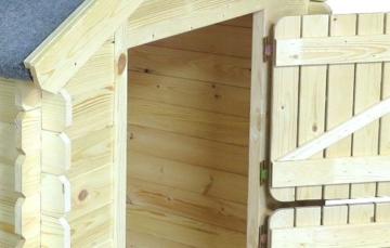 Kinder Spielhaus Leonie 1,05 x 1,30 Meter aus 19mm Blockbohlen - Kinder Gartenhaus Kinderspielhaus Kinderhaus Spielhaus Holz inkl. Dachpappe und Fußboden - 5
