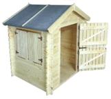 Kinder Spielhaus Leonie 1,05 x 1,30 Meter aus 19mm Blockbohlen - Kinder Gartenhaus Kinderspielhaus Kinderhaus Spielhaus Holz inkl. Dachpappe und Fußboden - 1