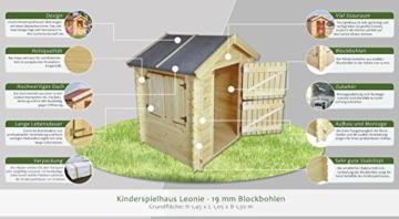 Kinder Spielhaus Leonie 1,05 x 1,30 Meter aus 19mm Blockbohlen - Kinder Gartenhaus Kinderspielhaus Kinderhaus Spielhaus Holz inkl. Dachpappe und Fußboden - 2