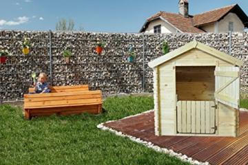 Kinder Spielhaus Leonie 1,05 x 1,30 Meter aus 19mm Blockbohlen - Kinder Gartenhaus Kinderspielhaus Kinderhaus Spielhaus Holz inkl. Dachpappe und Fußboden - 3