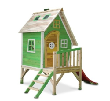 Kinderspielhaus MAYA - Stelzenhaus aus Holz mit Rutsche - 1