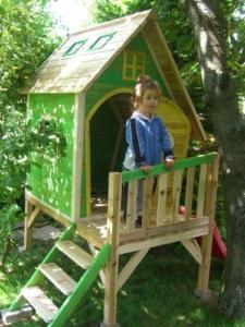 Kinderspielhaus MAYA - Stelzenhaus aus Holz mit Rutsche - 4