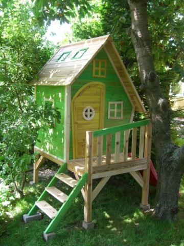 Kinderspielhaus MAYA - Stelzenhaus aus Holz mit Rutsche - 5