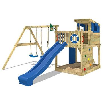 WICKEY Stelzenhaus Smart Camp Holzspielhaus Spielturm Kletterturm mit schrägem Holzdach Doppelschaukel Sandkasten Kletterwand, blaue Plane + blaue Rutsche - 2