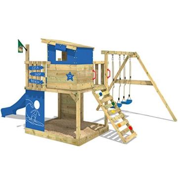 WICKEY Stelzenhaus Smart Camp Holzspielhaus Spielturm Kletterturm mit schrägem Holzdach Doppelschaukel Sandkasten Kletterwand, blaue Plane + blaue Rutsche - 3