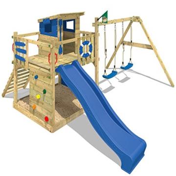 WICKEY Stelzenhaus Smart Camp Holzspielhaus Spielturm Kletterturm mit schrägem Holzdach Doppelschaukel Sandkasten Kletterwand, blaue Plane + blaue Rutsche - 4