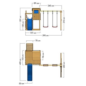 WICKEY Stelzenhaus Smart Camp Holzspielhaus Spielturm Kletterturm mit schrägem Holzdach Doppelschaukel Sandkasten Kletterwand, blaue Plane + blaue Rutsche - 5