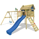 WICKEY Stelzenhaus Smart Plaza Baumhaus Spielturm mit Rutsche, Spielhaus und Schaukel, blaue Rutsche + blaue Plane - 1