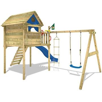 WICKEY Stelzenhaus Smart Plaza Baumhaus Spielturm mit Rutsche, Spielhaus und Schaukel, blaue Rutsche + blaue Plane - 3