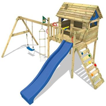 WICKEY Stelzenhaus Smart Plaza Baumhaus Spielturm mit Rutsche, Spielhaus und Schaukel, blaue Rutsche + blaue Plane - 4