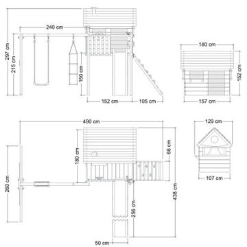 WICKEY Stelzenhaus Smart Plaza Baumhaus Spielturm mit Rutsche, Spielhaus und Schaukel, blaue Rutsche + blaue Plane - 5
