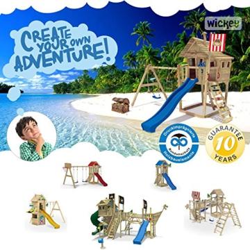 WICKEY Stelzenhaus Smart Plaza Baumhaus Spielturm mit Rutsche, Spielhaus und Schaukel, blaue Rutsche + blaue Plane - 6